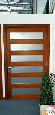 CEDAR TIMBER FRONT DOOR, 6 SLAT 1200Wx2100H, STAINED & OILED, FROSTED GLASS