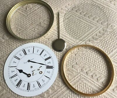 Vintage Clock Face with Frames, Glass, Pointers & Fixings + Decorative Pendulum