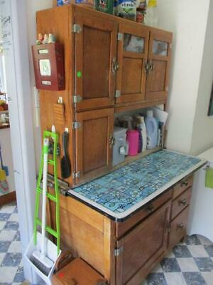 Antique Solid Oak Canadian Kitchen Cabinet Cupboard Pull Out Metal Shelf Larder