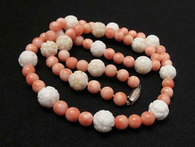 Natural Angel Skin Coral & Carved Flower White Coral Bead Necklace Vintage