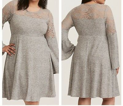 b91eeb7bfe7 Torrid Gray Bell Sleeve Lace Inset Woven Skater Dress 00X Med Large 10   44754