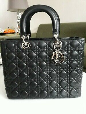 2e18591d6a27 Lady Dior Handbag in Black Leather with Silver Hardware. Excellent  condition.