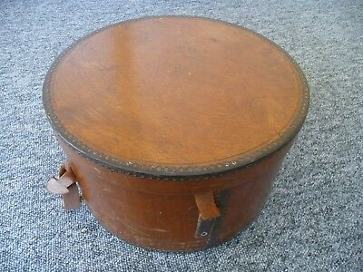 HAT BOX Vintage Metal Bound Wooden Drum Style (Interior Design Storage Mill)