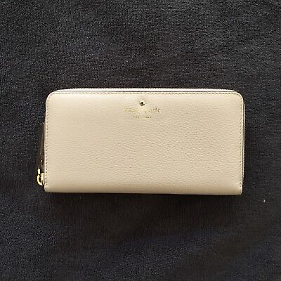 Kate Spade New York Beige Leather Wallet • 100% AUTHENTIC • Brand New
