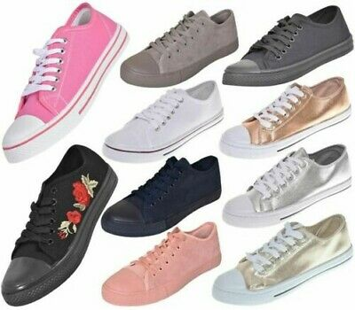best authentic cd1aa affbb Neuf Femmes Tennis Baskets Femmes Lacet Toile Chaussures UK Taille 3 To 8