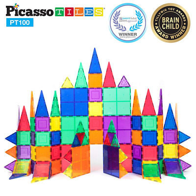 PicassoTiles 100 Piece Set 100pcs Magnet Building Tiles Clear Magnetic 3D Blocks
