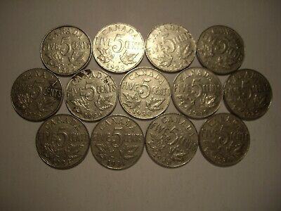 F Canada George V 1922 - 1936 Five Cents - Lot of 13 Coins