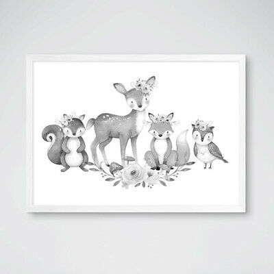 Neutral Grey Woodland Boho Animal Prints Nursery Decor Childrens Bedroom Picture