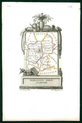 1823 Original Antique Map WORCESTERSHIRE SHROPSHIRE STAFFORDSHIRE by Perrot (23)