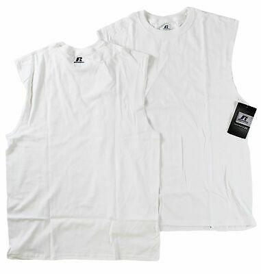c5ba6232a08a5 RUSSELL ATHLETIC 100%COTTON Sleeveless Muscle T Shirt White (2XL-3XL ...