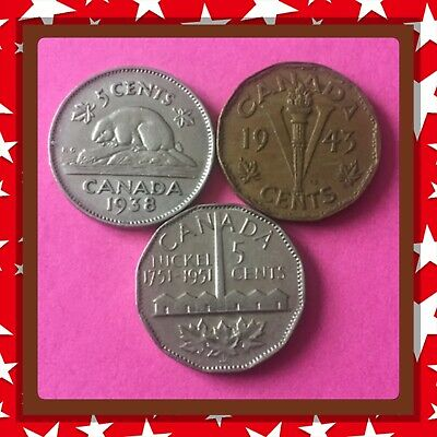 🇨🇦 1938-1943-1951  Canada five cents Canadian nickels  Coins #1491 🇨🇦
