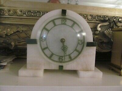 SMITHS 8 Day Antique - Art Deco - mantle clock. Made in England.Onyx/ Marble.