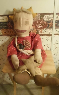 Primitive Grubby Folk Art Doll, Pig And Angel - Lot Of 3