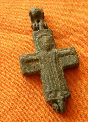 A396. Byzantine style bronze reliquary double faced cross.Encolpion