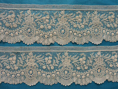 110 cms antique 19th c Brussels point de gaze lace border