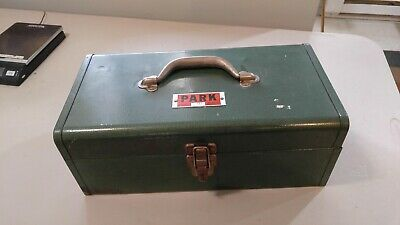 Vintage PARK Tool Box Model 160 Green Toolbox Storage Tote Chest