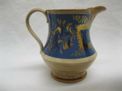 Antique Staffordshire Copper Luster Blue White Pitcher English Old Vtg Ware