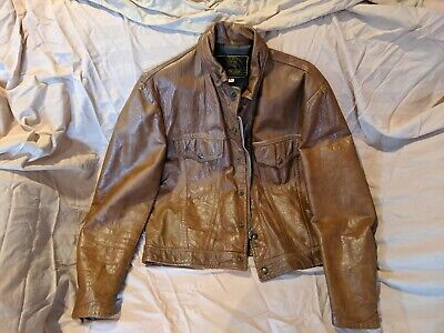 Vintage 1970s BEAU BREED CAFE RACER BROWN LEATHER MOTORCYCLE JACKET 44