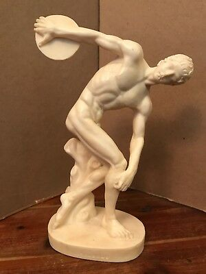 A. Santini Discobolo Disc Thrower Sculpture Of Man Italy Resin Figurine Signed