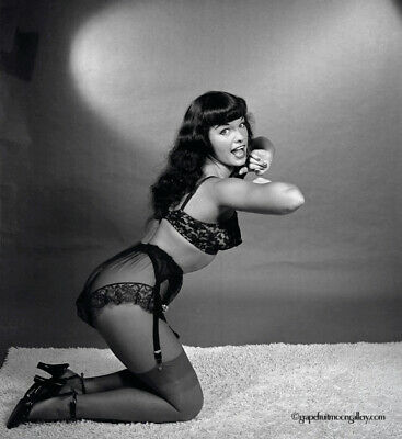 Bettie Page 1954 Camera Negative Photograph Bunny Yeager Garters And Stockings