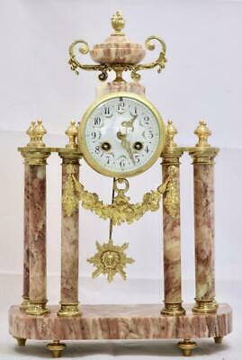 Antique Portico Mantle Clock Stunning French Red Marble And Bronze Bell Striking