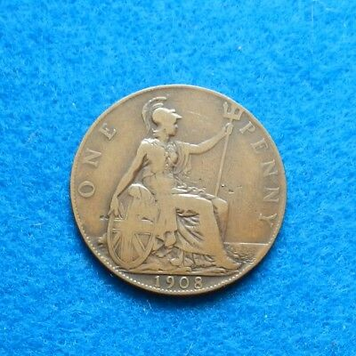 1908 Great Britain Penny, Nice Old Coin - SEE PICS
