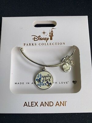 New Disney Parks ALEX AND ANI Happily Ever After Mickey Silver Bangle Bracelet