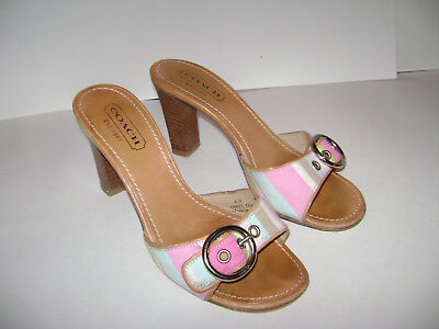 7c4a8bebe158 COACH Diedre A8015 LEATHER Size 6 B PINK SHOES SANDALS WOMAN SLIDES HEELS  ITALY
