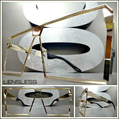 Oversized RETRO Style Lensless SUN GLASSES No Shades XL Gold Frame Only NO Lens