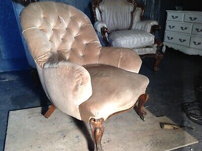 victorian button back arm chair