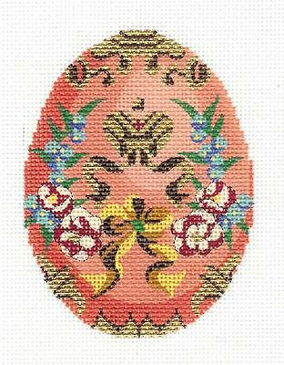 Jeweled Peach Floral EGG handpainted Needlepoint Canvas Ornament by LEE