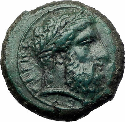 SYRACUSE in SICILY Authentic Ancient 344BC Ancient Greek Coin w ZEUS i73508
