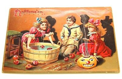 Vintage Tuck Halloween Postcard, Children Bobbing for Apples UnPosted & Embossed