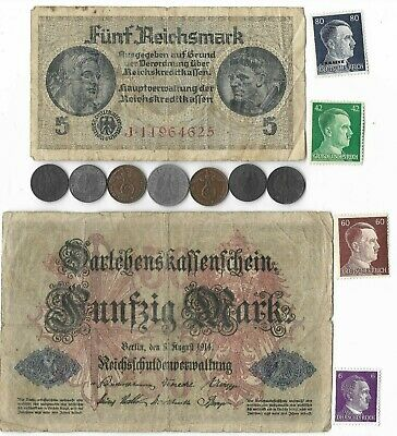 Rare Old WWI WWII Germany War Civil Coin Mark Note Stamp Collection Dealers Lot