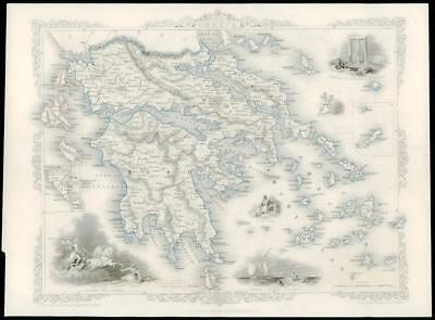 """1850 - Original Illustrated Antique Map """"GREECE"""" Ionian Islands by Tallis (107d)"""
