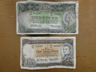 Old Australian Ten Shilling & One Pound Note Coombs Wilson