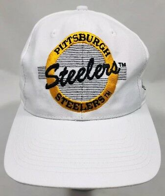 cff8cc78f Pittsburgh Steelers NFL Vintage 90 s The Game White Script Snapback Cap Hat  VGUC
