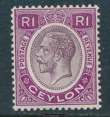 1928-29 Ceylon 1R Dull & Bright Purple, SG 363, MH