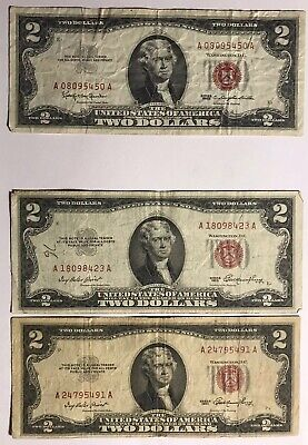 Lot of 3 1953 1963 Red Seal $2 Two Dollar Bills Vintage Old Notes Currency