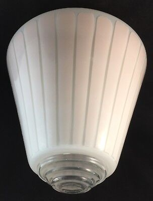 Vintage Pink Striped Art Deco Glass Skyscraper Rocket Lamp Light Shade Diffuser
