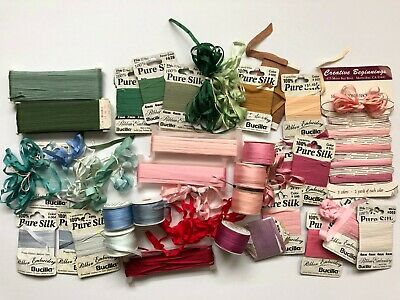 Big lot of Silk Embroidery ribbon - 40+ lengths, assorted widths & colors