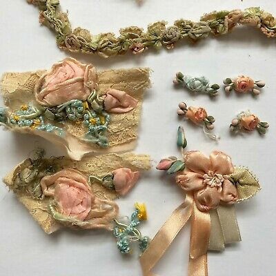 Antique French silk flower trims, metallic lace with ombre ribbon France