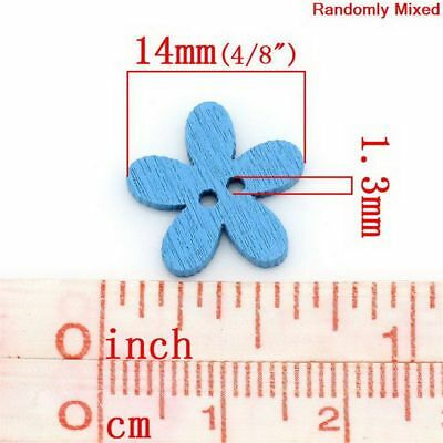 Hot 100pcs Multicolor Scrapbook Crafts 14x15mm Buttons Flower Wooden Fashion