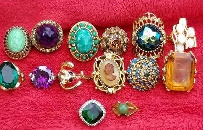 Vtg Victorian gold plated custom lot of cameo, glass and name brand rings
