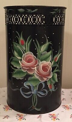 Vintage Tole Painted Metal Trash Can Black Pink Reticulated Edge Shabby Cute