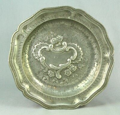 "! Antique 1700's French Pewter Rococo Ornate Plate 9"" w. Blank Cartouche"