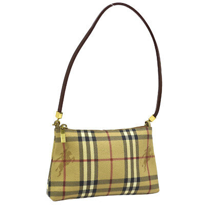 d6b5e77209d Auth BURBERRY Check Pattern Shoulder Bag Beige Brown PVC Leather AK27013d