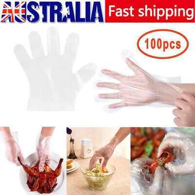 100pcs/bag Eco-friendly PE Plastic Transparent Disposable Gloves Kitchen Tools
