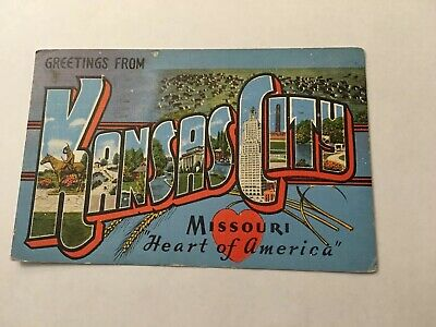 Vintage Postcard Posted 1945 Greetings From Kansas City Missouri Heart Of USA MO