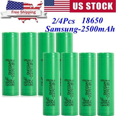 US 2/4Pcs 18650 Samsung-2500mAh 35A Rechargeable Battery for Vape1 Mod Free Case